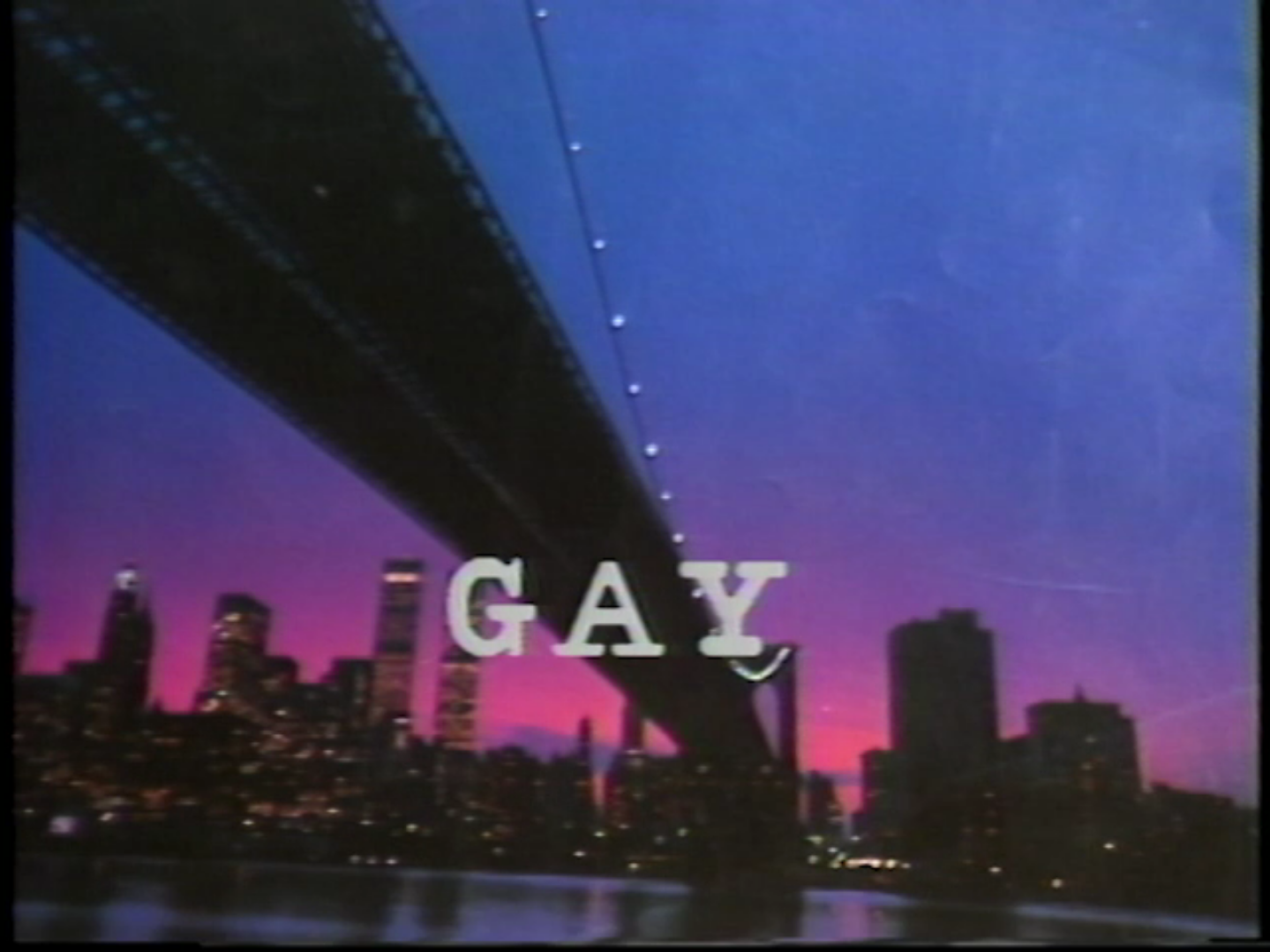 Opening credits. 1985. U-matic tape. Still from the item Gay Morning America, Season 3, Show 5.